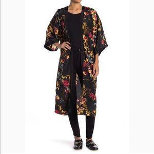 Renaissance floral satin kimono